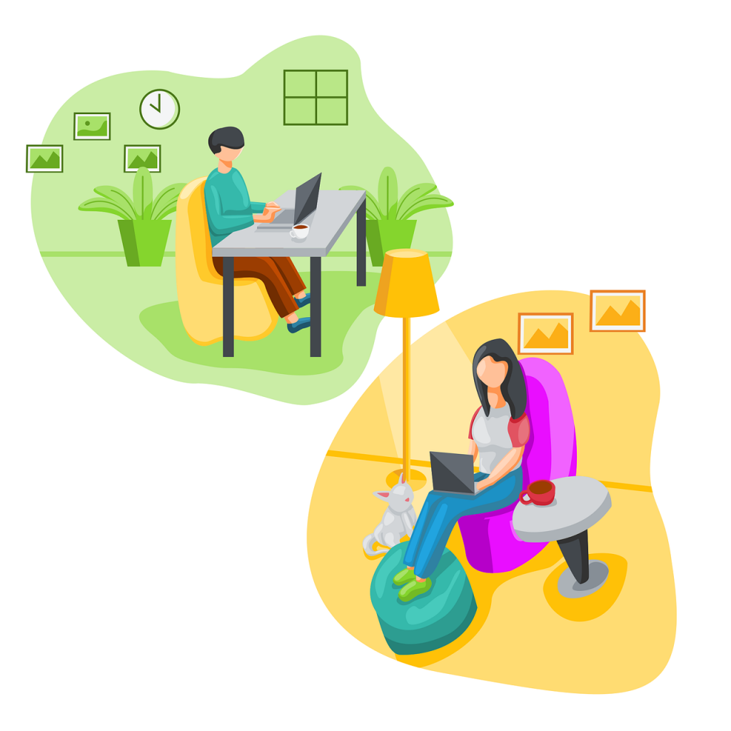 "Two ""blurbs"" each show a person working from home with a laptop. The upper left corner shows a green background with a man sitting at a desk. The lower right corner shows a yellow background with a woman sitting in a chair. (business hosting with cpanel)"